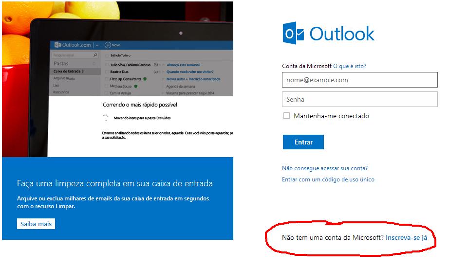 Abra a Página Para Criar Conta Hotmail