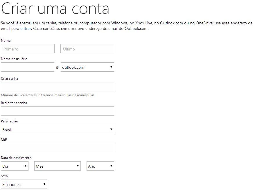 Preencha com seus dados para Criar Conta Hotmail