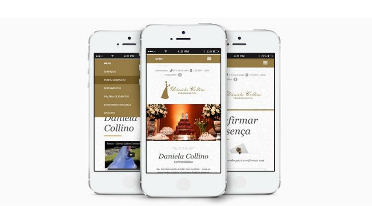 site responsivo em um smartphone